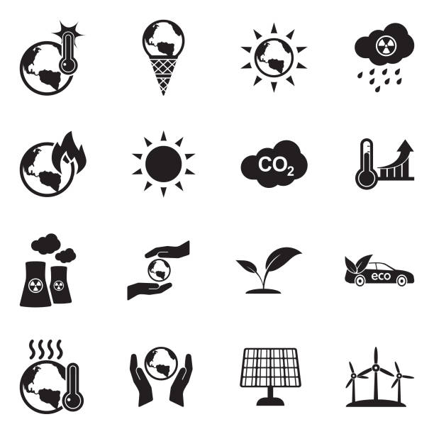 illustrazioni stock, clip art, cartoni animati e icone di tendenza di global warming icons. black flat design. vector illustration. - climate change
