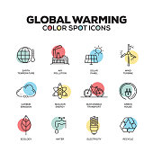 Global Warming icons. Vector line icons set. Premium quality. Modern outline symbols and pictograms.