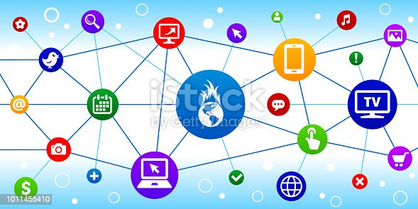 Global Warming Internet Communication Technology Triangular Node Pattern Background. The main icon is in the center of this illustration on a blue circle, it is connected to other circles with technology and modern communication icons on them. The colorful circles form a triangular node pattern and are connected by thin lines. The individual icons include various technology related images such as computers, cell phone, tv set and many more.