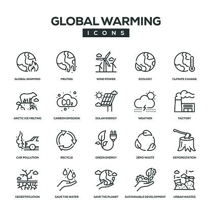 Global Warming Line Icon Set