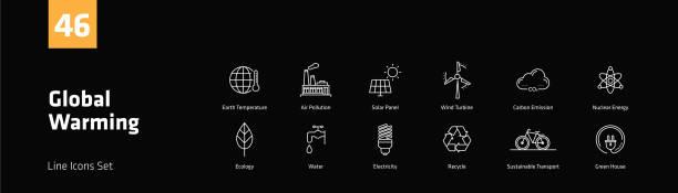 ilustrações de stock, clip art, desenhos animados e ícones de global warming line icons set - alter do chão