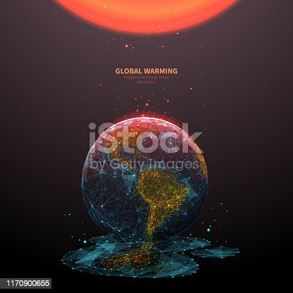 Global warming low poly banner template. 3d polygonal melting earth planet. Ecological problem concept with connected dots and lines. Environmental disaster vector color wireframe mesh illustration