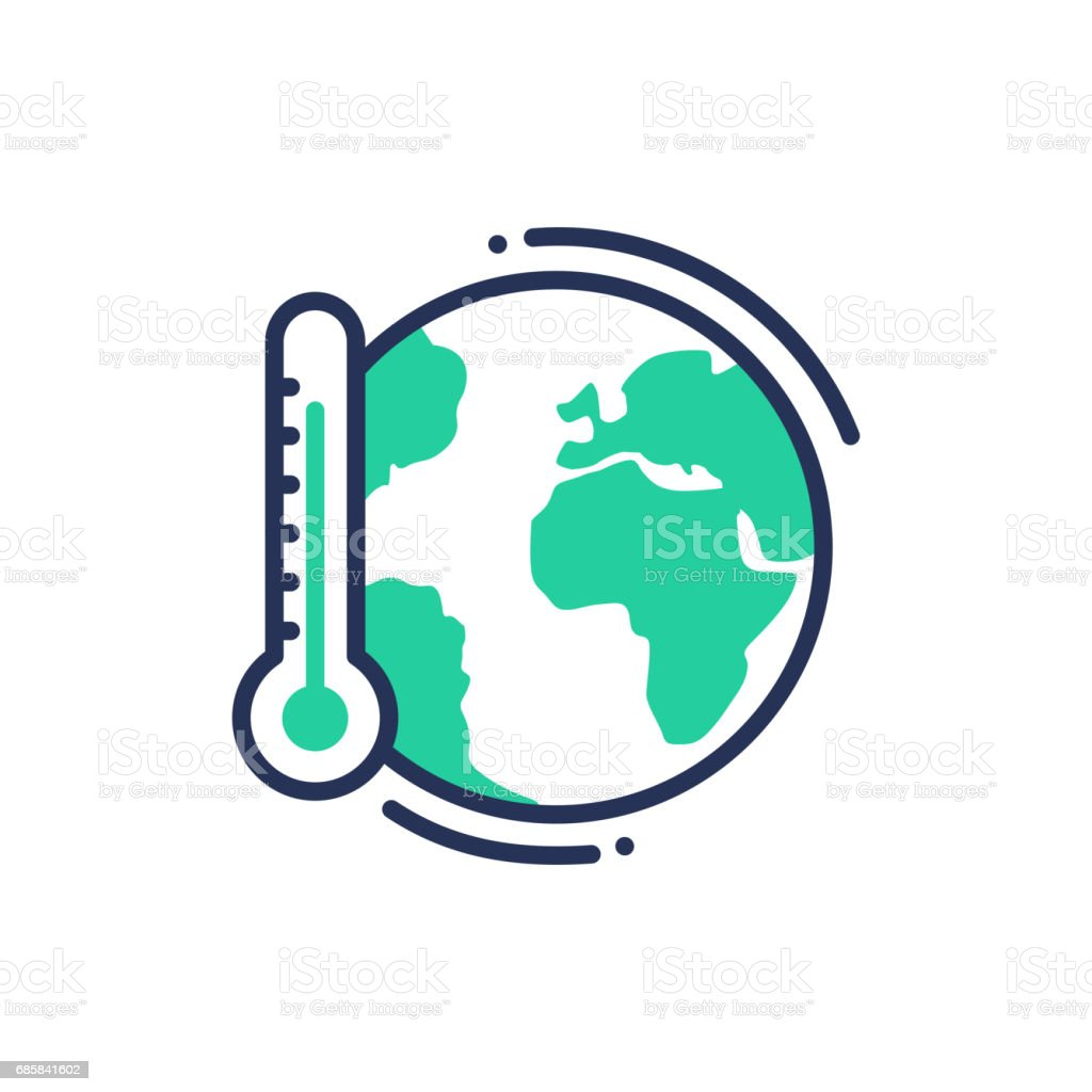 Global warming - modern vector single line icon vector art illustration