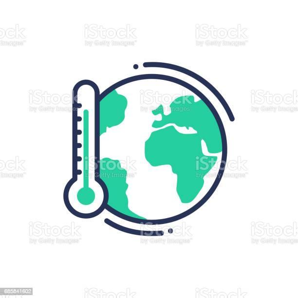 Global Uppvärmning Moderna Vektor Enda Rad Ikon-vektorgrafik och fler bilder på Begreppsmässig symbol