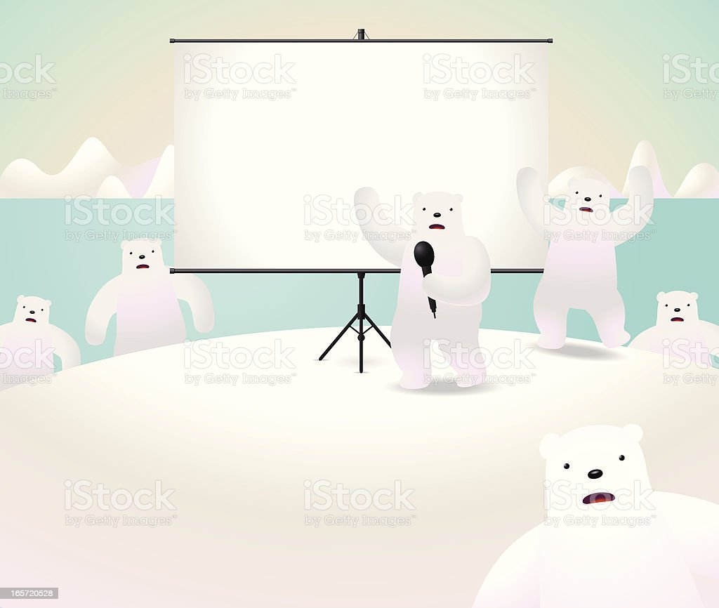 Global Warming: Polar bears showing something on projection screen royalty-free stock vector art
