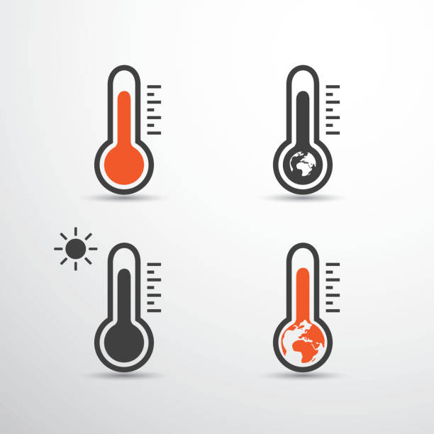 global warming, pollution, ecological problems - thermometer icons design - climate change stock illustrations