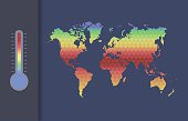 Global warming vector concept. Global climate map of the world.