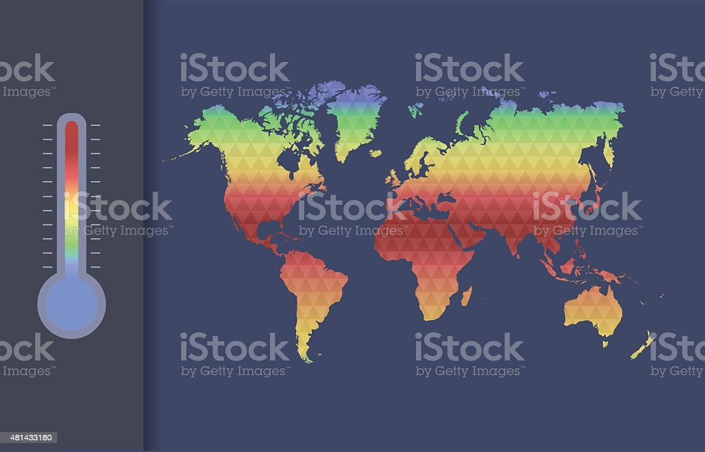 Global warming vector concept. Global climate map of the world. vector art illustration