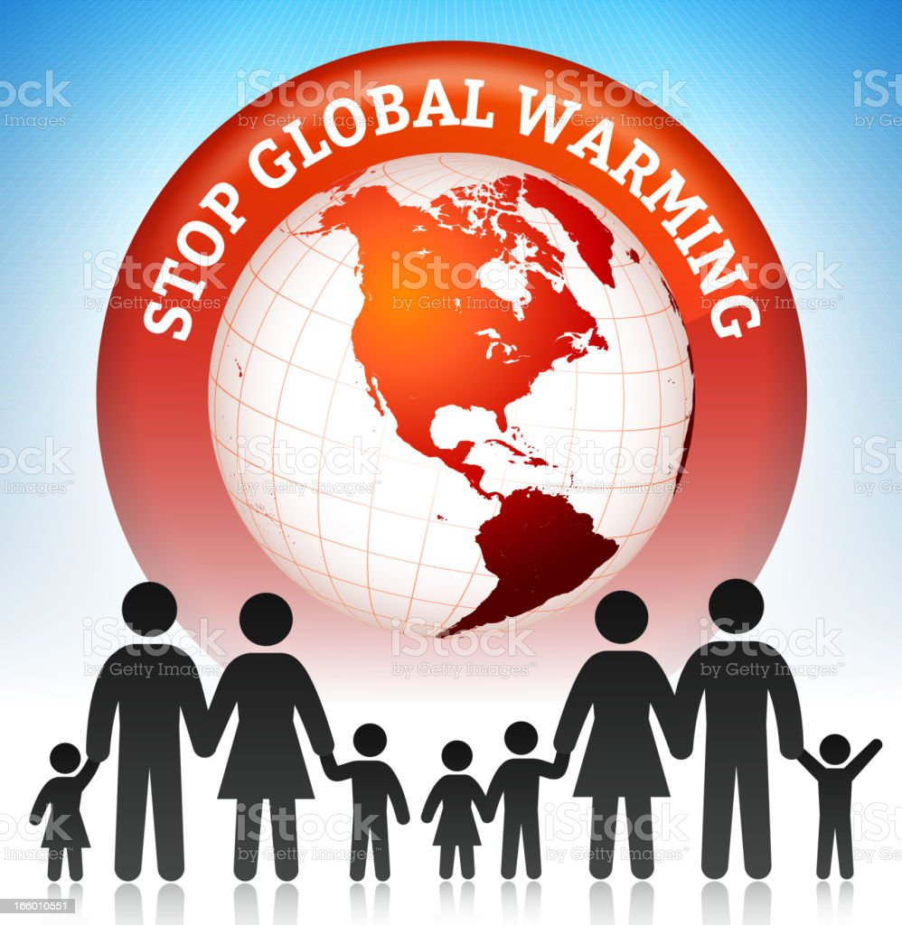 Global Warming with Stick Figures Family Concept royalty-free stock vector art