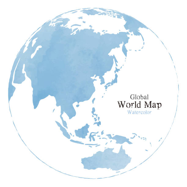 水彩テクスチャを持つ世界地図 - 地球点のイラスト素材/クリップアート素材/マンガ素材/アイコン素材