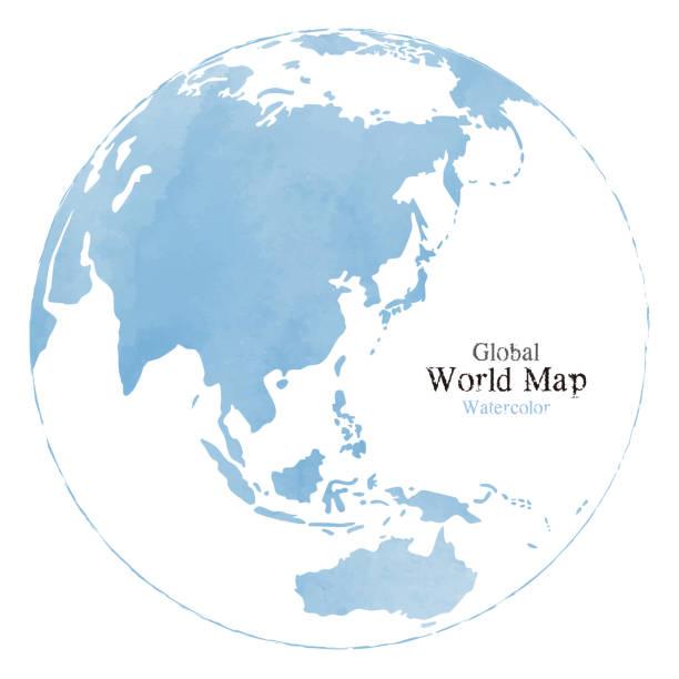 水彩テクスチャを持つ世界地図 - アジア点のイラスト素材/クリップアート素材/マンガ素材/アイコン素材