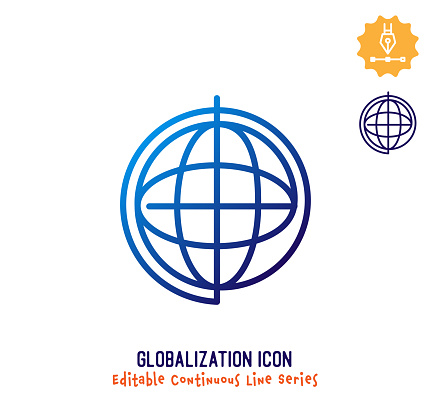 Globalization Continuous Line Editable Icon