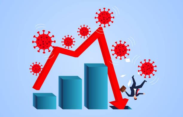 Weltweit verbreitete neue Coronavirus Pneumonia covid-19 verursacht Business Chart Pfeilfall trifft Geschäftsmann, Lungenentzündung Virus Pest Katastrophe führt zu wirtschaftlichen Abschwung – Vektorgrafik