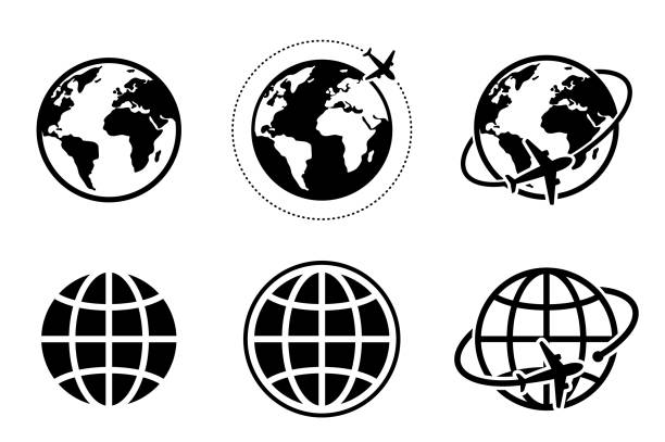 ikona globalnego obrazu globu i samolotu - globalny stock illustrations