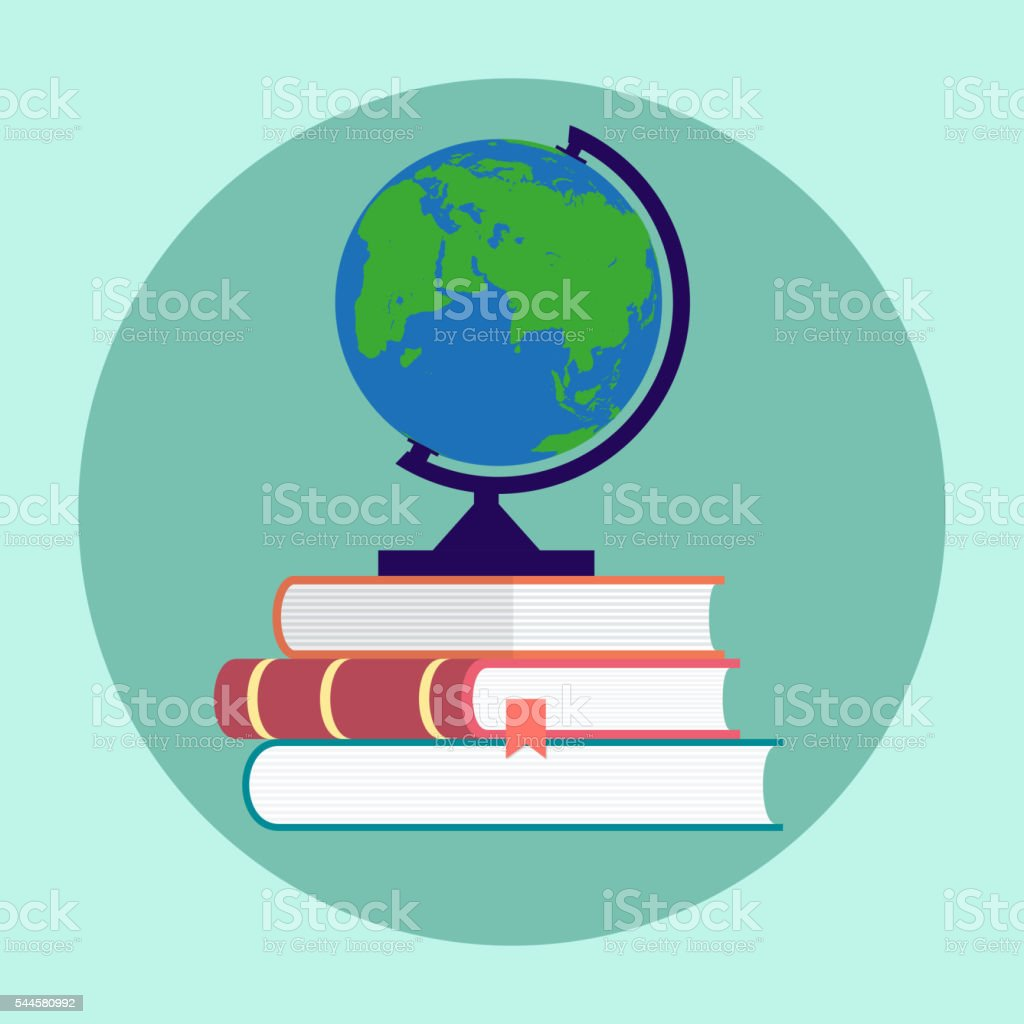 Globe and Books flat style vector art illustration