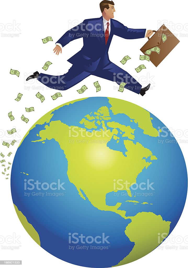 Globe and Businessman royalty-free stock vector art