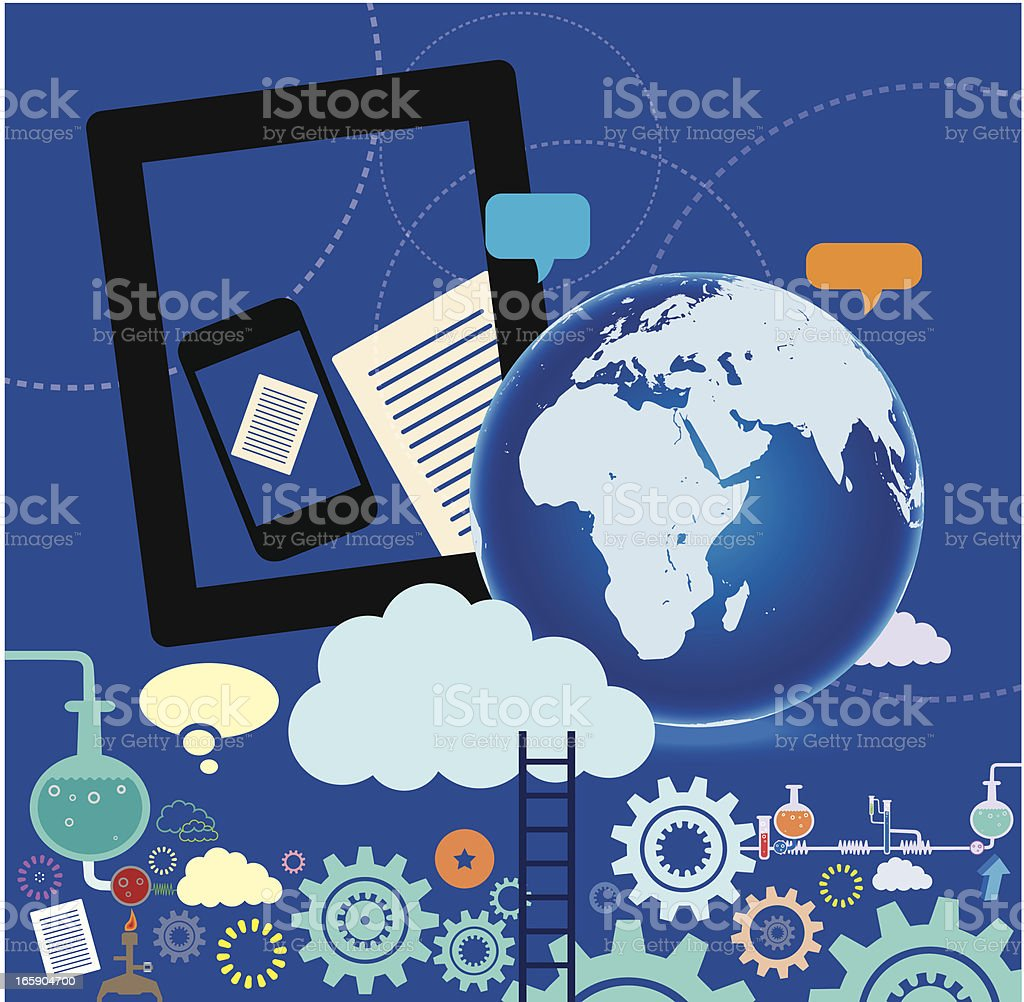 Globe and Cloud Computing Technology royalty-free stock vector art