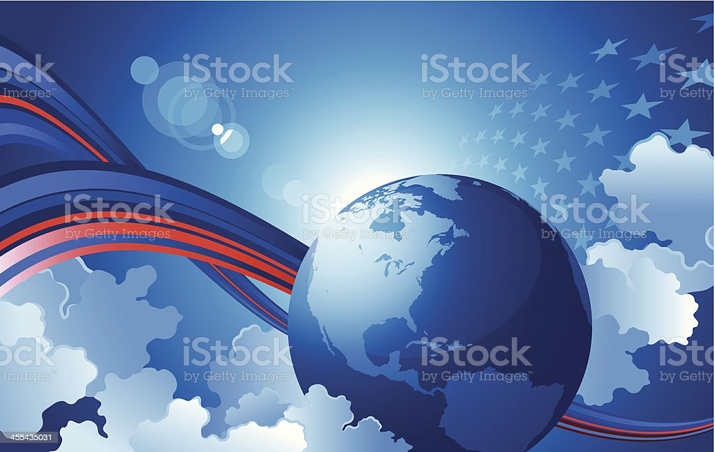 Globe and clouds royalty-free stock vector art