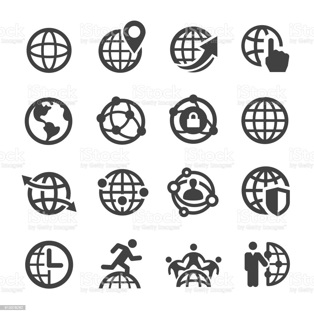 Globe and Communication Icons - Acme Series vector art illustration