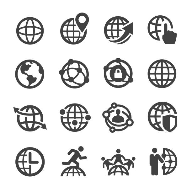 illustrations, cliparts, dessins animés et icônes de globe and communication icons - acme série - communication globale
