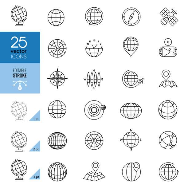 stockillustraties, clipart, cartoons en iconen met globe en communicatie iconen. bewerkbare lijn. - breed