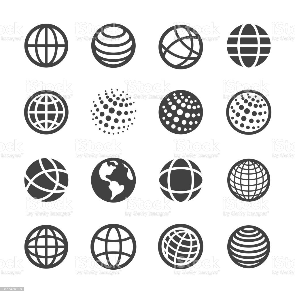 Globe and Communication Icons Set - Acme Series vector art illustration