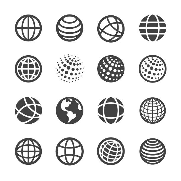 globe and communication icons set - acme series - earth stock illustrations