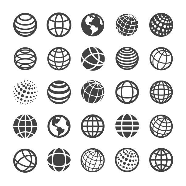 ikony globe i komunikacji - seria smart - globalny stock illustrations