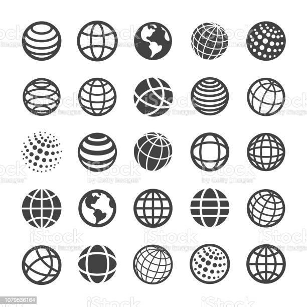 Globe And Communication Icons Smart Series - Arte vetorial de stock e mais imagens de Abstrato