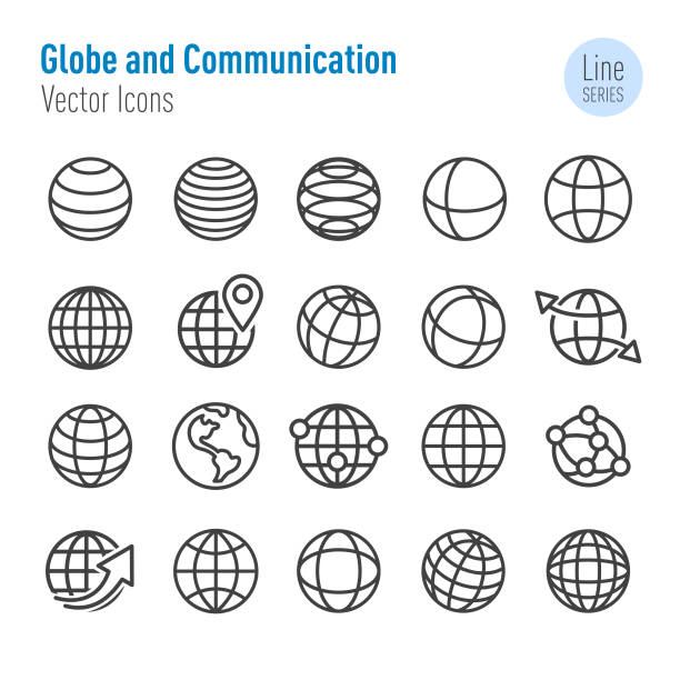 stockillustraties, clipart, cartoons en iconen met globe en communicatie iconen-vector line series - planeet