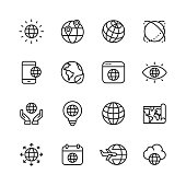 16 Globe Outline Icons.