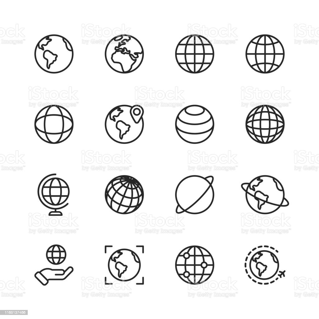 Globe and Communication Line Icons. Editable Stroke. Pixel Perfect. For Mobile and Web. Contains such icons as Globe, Map, Navigation, Global Business, Global Communication. - Royalty-free Alfinete arte vetorial