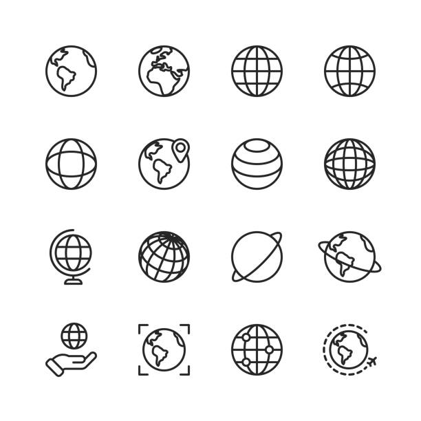 Globe and Communication Line Icons. Editable Stroke. Pixel Perfect. For Mobile and Web. Contains such icons as Globe, Map, Navigation, Global Business, Global Communication. 16 Globe Outline Icons. airplane symbols stock illustrations