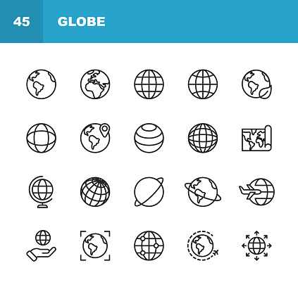 Globe and Communication Line Icons. Editable Stroke. Pixel Perfect. For Mobile and Web. Contains such icons as Globe, Map, Navigation, Global Business, Global Communication.