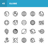 20 Globe Outline Icons.