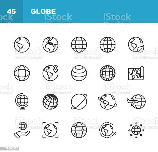 Globe And Communication Line Icons Editable Stroke Pixel Perfect For Mobile And Web Contains Such Icons As Globe Map Navigation Global Business Global Communication - Arte vetorial de stock e mais imagens de Alfinete