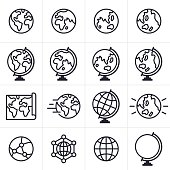 Globe and earth icons and symbols collection. EPS 10 file. Transparency effects used on highlight elements.