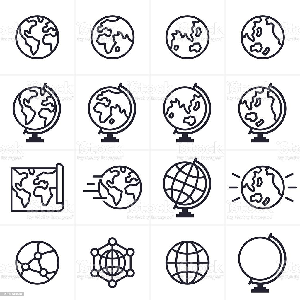Globe and Earth Icons and Symbols vector art illustration