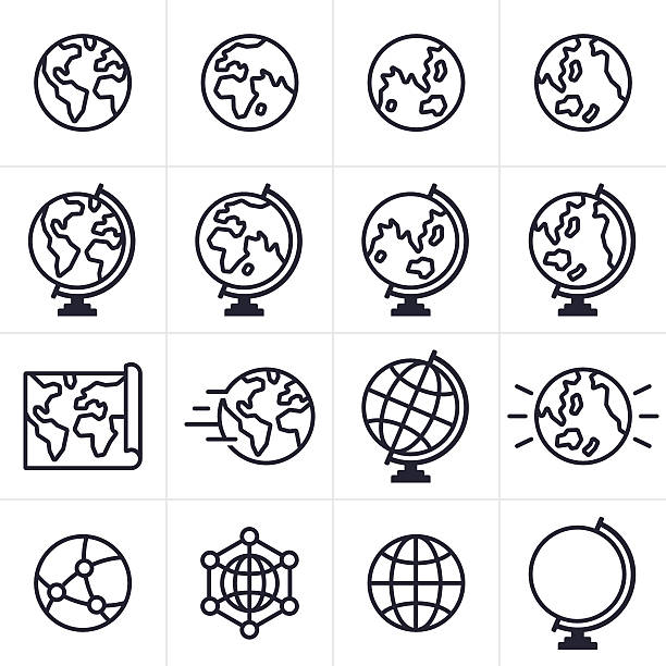 stockillustraties, clipart, cartoons en iconen met globe and earth icons and symbols - planeet aarde