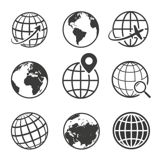 illustrazioni stock, clip art, cartoni animati e icone di tendenza di globe and earth planet black icon set - terra