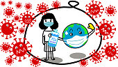 cute hand drawn of one girl with face mask and the globe wearing face mask and holding alcohol gel bottle are  in bubble to be safe from all coronavirus around bubble in covid-19 time cartoon vector