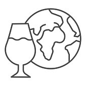 Globe and glass of wine thin line icon. Imported wine with planet outline style pictogram on white background. Winery world collection logo for mobile concept and web design. Vector graphics