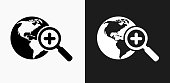 Globe and Magnifying Glass Icon on Black and White Vector Backgrounds. This vector illustration includes two variations of the icon one in black on a light background on the left and another version in white on a dark background positioned on the right. The vector icon is simple yet elegant and can be used in a variety of ways including website or mobile application icon. This royalty free image is 100% vector based and all design elements can be scaled to any size.