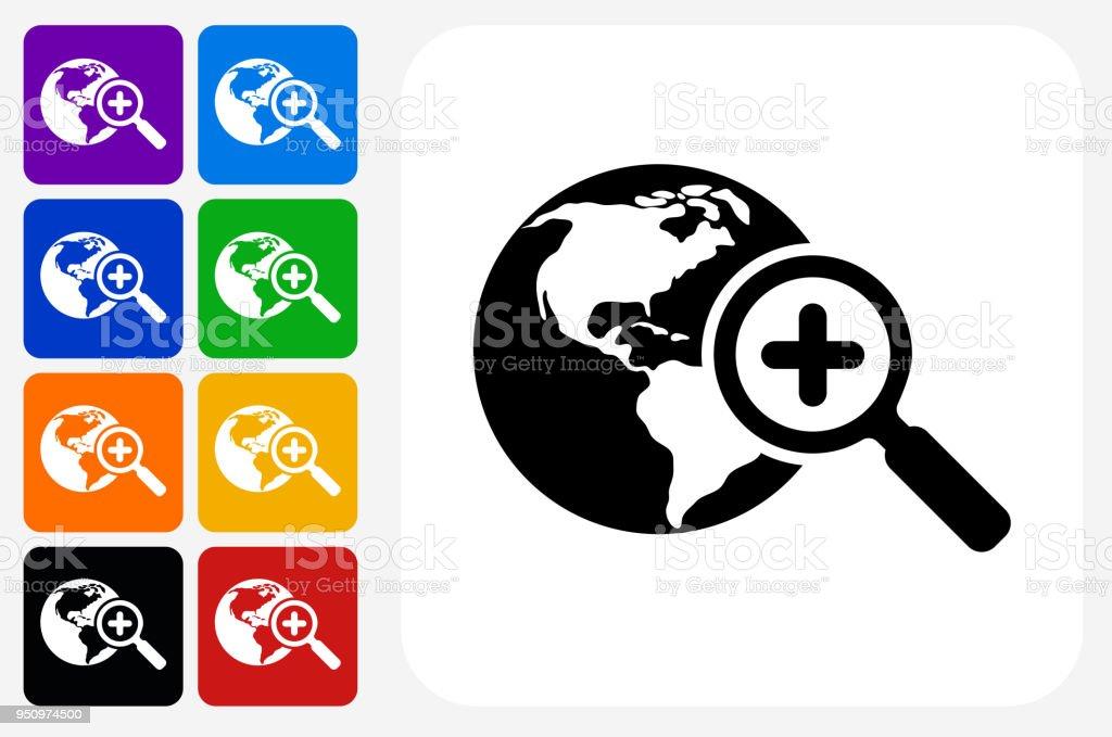 Globus Und Lupensymbol Quadrattaste Set Stock Vektor Art und mehr ...