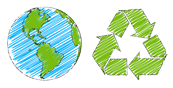 Globe and recycling symbol