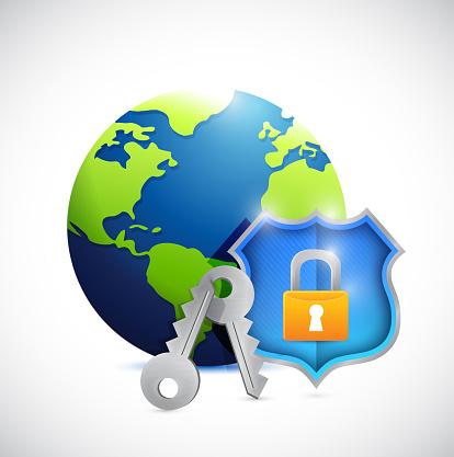 Globe and shield security illustration design