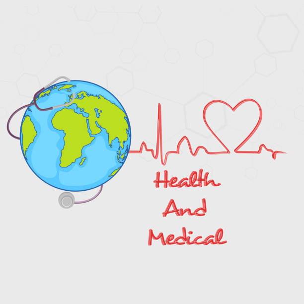 Globe and stethoscope for Health and Medical. Doctor's stethoscope around the globe for Health and Medical concept on molecules background. world health day stock illustrations