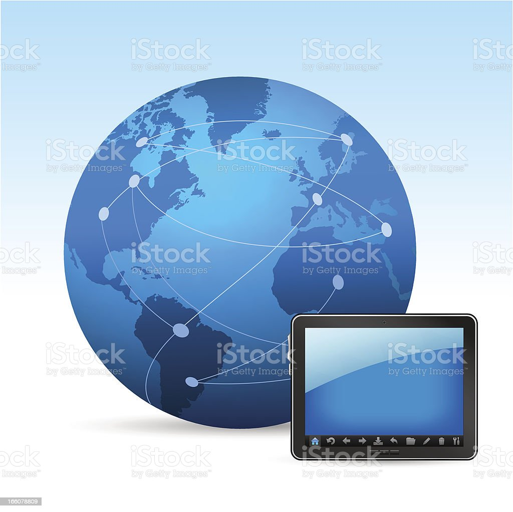 Globe and tablet PC royalty-free globe and tablet pc stock vector art & more images of abstract