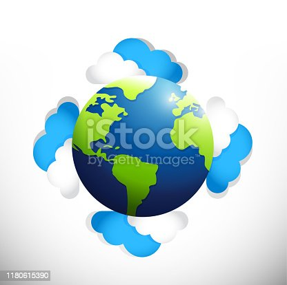 Globe around clouds. illustration design over a white background