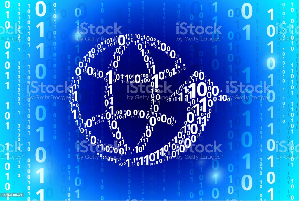 Globe Arrow Binary Code Blue Vector Pattern Background Stock Vector